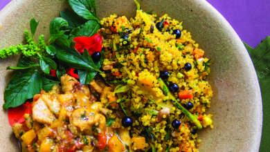 Photo of Galinha caipira com especiarias, cuscuz de quinoa com maria-preta e beldroega refrescante