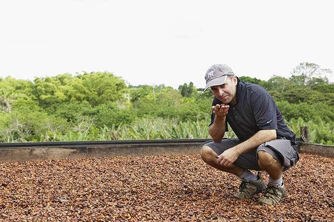 O chef Bertrand Busquet, consultor técnico da Barry Callebaut no Brasil, analisa as amêndoas do cacau na barcaça da Fazenda Ravenala, em Ilhéus