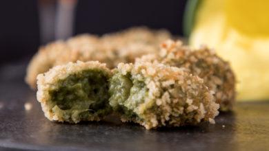 Croqueta verde de espinafre com maionese de açafrão
